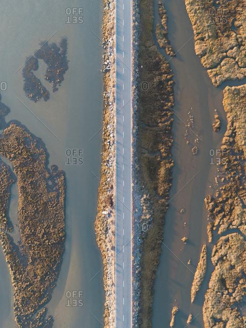Aerial view of highway on the coast of Huelva, Spain