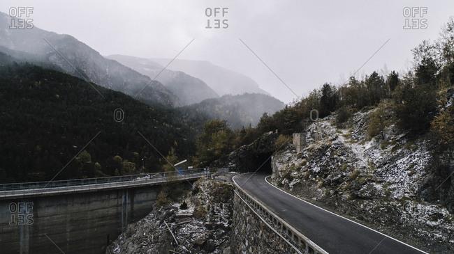 Road through mountain tunnel in Benasque, Spain