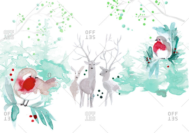 Forest with deer and birds