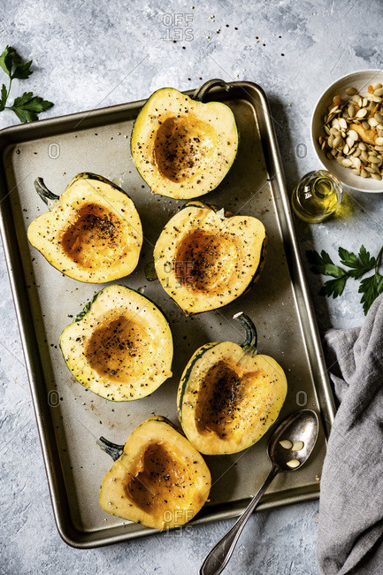 Preparing a Stuffed Acorn Squash