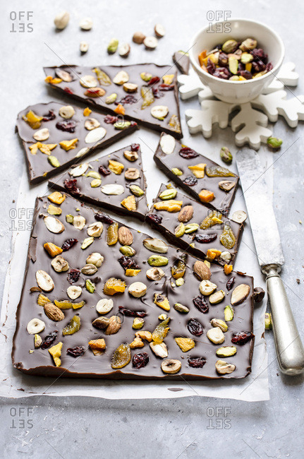 Chocolate slab with dried fruits and nuts