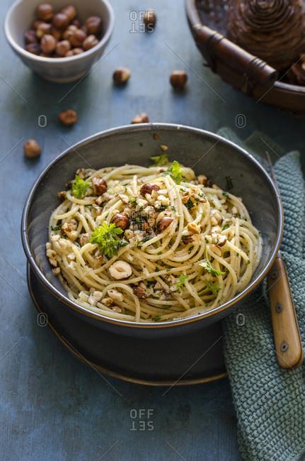 Spaghetti with hazelnut pesto