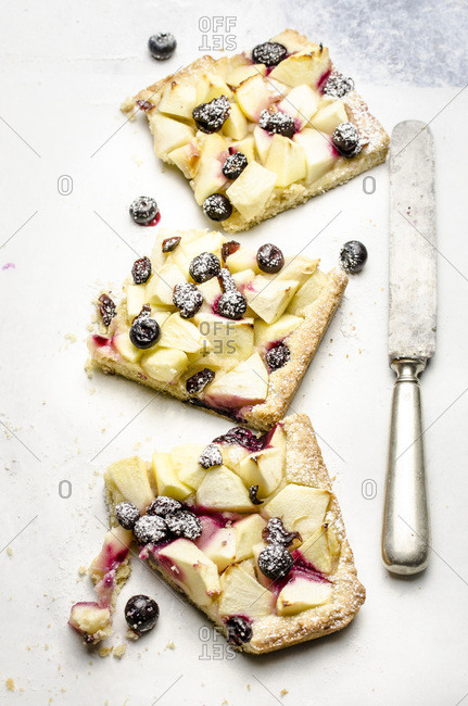Apple, blueberry pie with cranberries