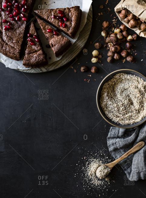 Chocolate cake with pomegranate