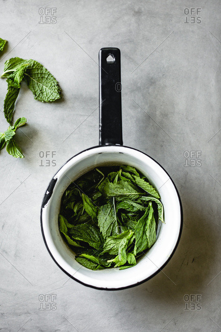 Mint in a saucepan