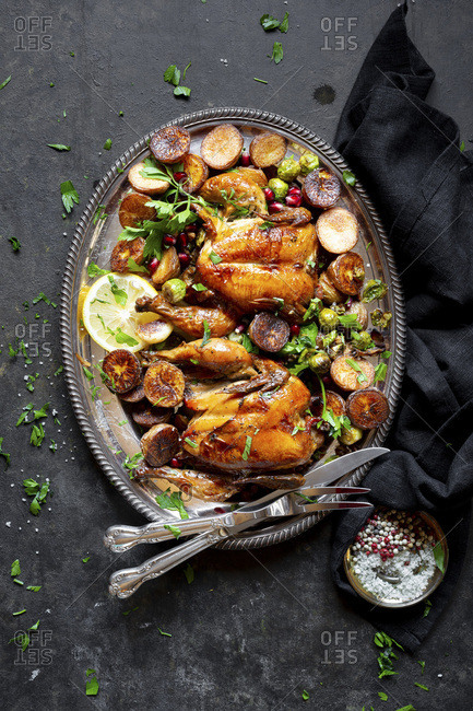 Roast Chicken Dinner with Fennel Rice, Brussels Sprouts, Baked Potato , Saut�ed mushrooms - Gluten-free.
