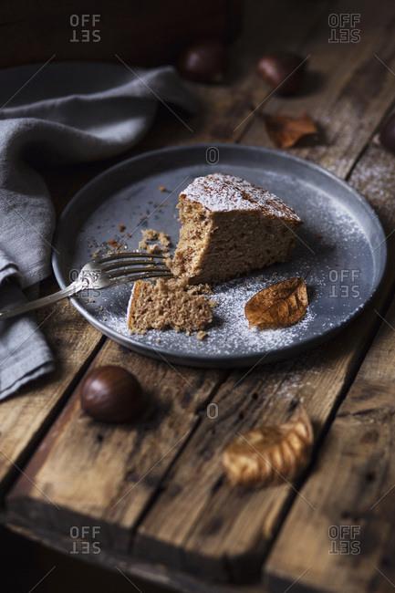 A slice of chestnut cake. Autumn mood