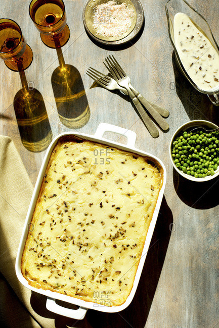 Shiitake Mushroom Wild Rice Shepard's Pie served with Peas and Gravy.