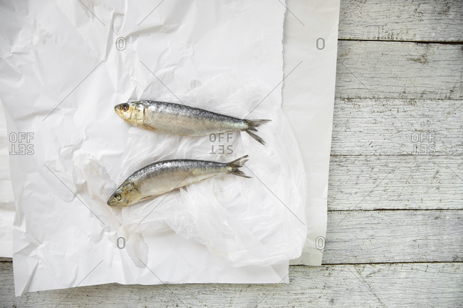 Two sardines on parchment paper with lemon