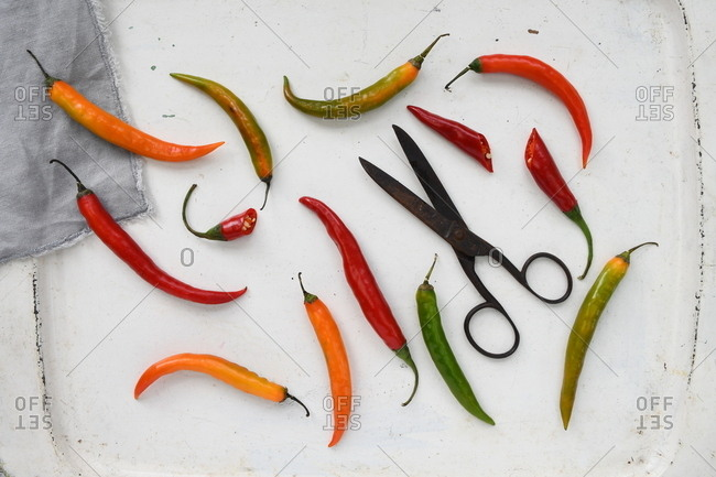 Colorful peppers on white background and scissors