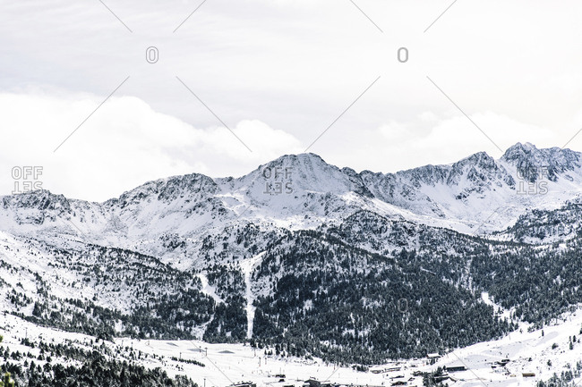 Snowy mountain forests in Andorra