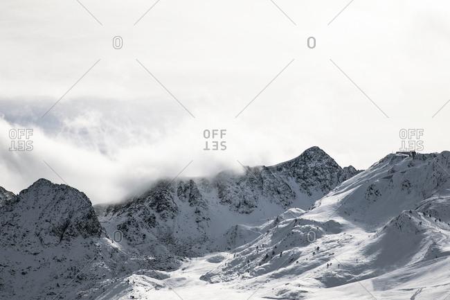 Snowy mountain peak in Andorra