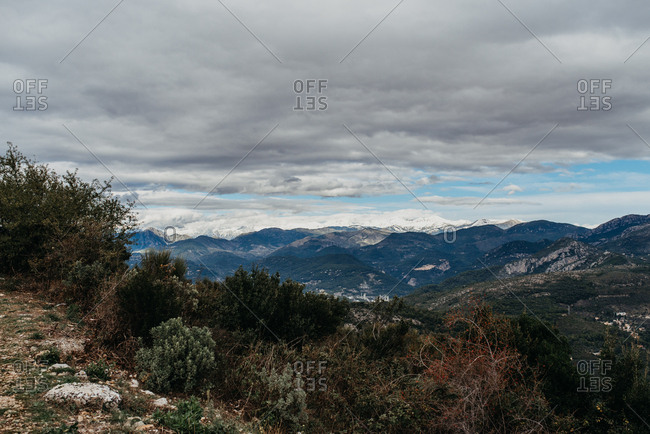 Scenic view of mountains on a cloudy day