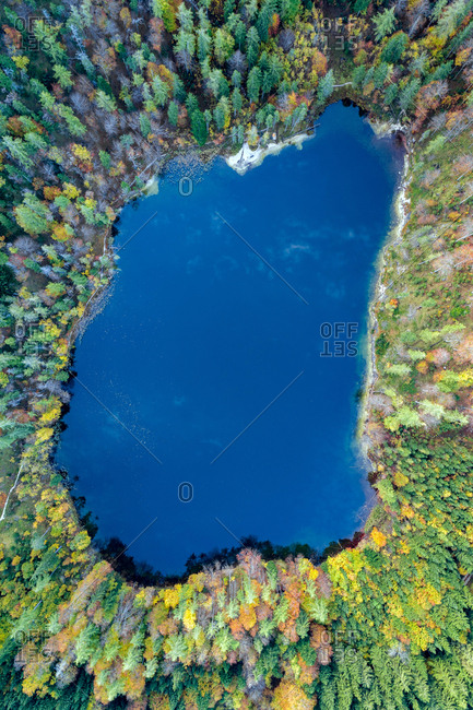 Lake Eibensee, Austria - October 12, 2017. Aerial view of the lake Eibensee, a beautiful small mountain lake in the Austrian Alps near Salzburg.
