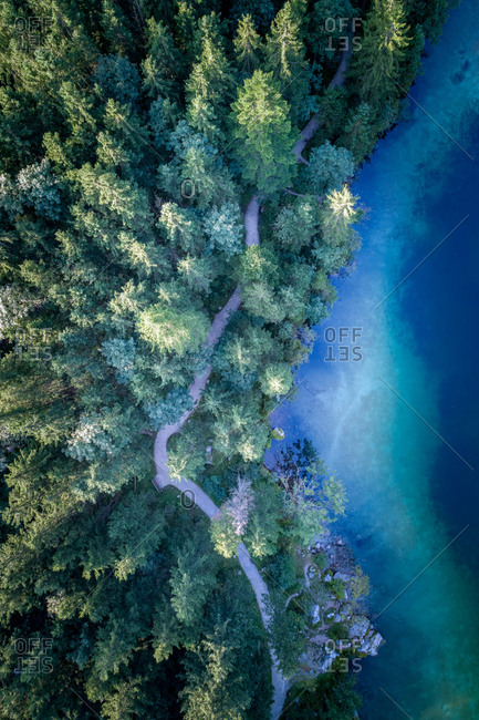 Hintersee, Germany - August 31, 2017. Aerial view at lake Hintersee, a colourful mountain lake in Ramsau in the Bavaria region.