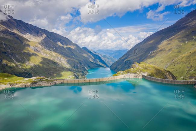 Kaprun, Austria - September 6, 2018. Overlooking the high mountain reservoir Mooserboden Stausee in Kaprun.