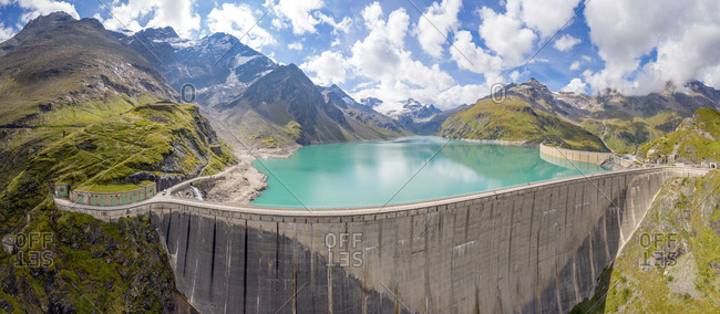 Kaprun, Austria - September 6, 2018. Overlooking the high mountain reservoir Mooserboden Stausee with its enormous dam walls in Kaprun.