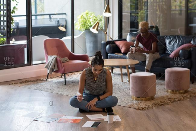 Attentive businesswoman working in office