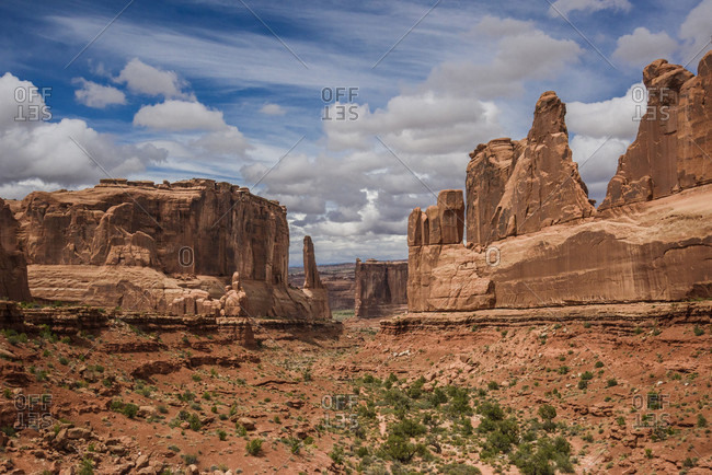 Rock formations in the Park Avenue area of Arches National Park against the sky, Utah, USA