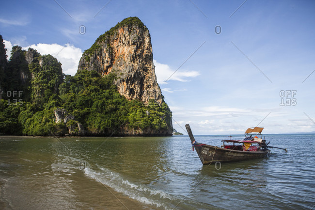 August 13, 2017: Railay Beach near Krabi, Thailand offers pristine ocean views on the Andaman Sea. The beach is a popular tourist destination located east of Phuket.
