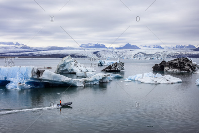 July 22, 2018: Jokulsarlon Glacier Lagoon in Southeastern Iceland is one of the country's most iconic travel destinations