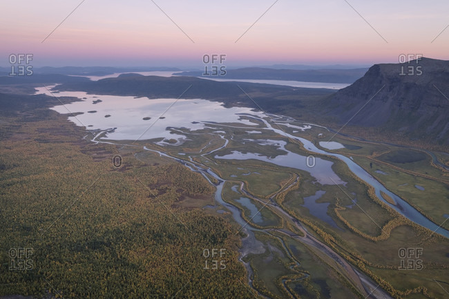 Landscape with view over Rapadalen from summit of Skierfe at sunset, Sarek National Park, Lapland, Sweden