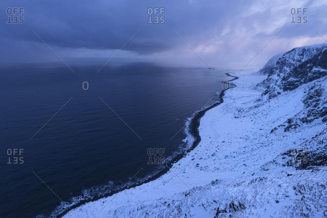 Winter view over wild northern coast of Vestvagoya from Kleivheia to Eggum, Lofoten Islands, Norway