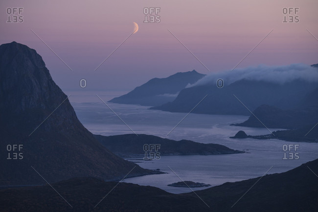 Scenic landscape of Nappstraumen at twilight, Vestvagoya, Lofoten Islands, Norway