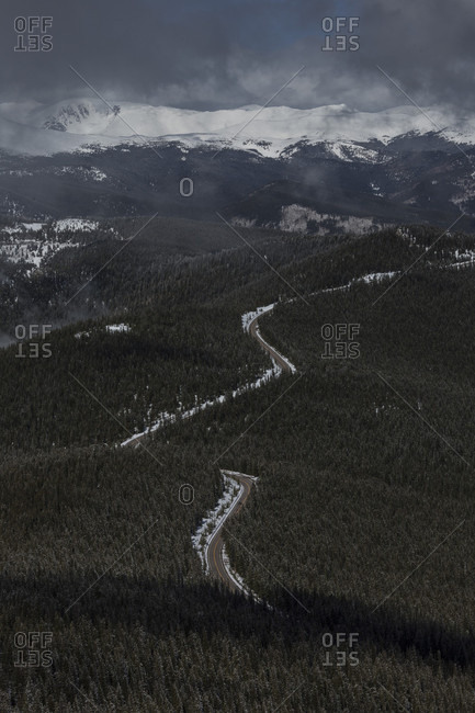 Scenic landscape with Squaw Pass Road and Mt Evans Massif, Evergreen, Colorado, USA