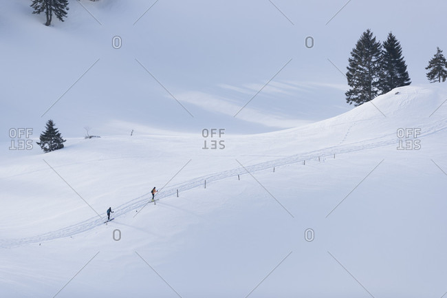 Distant view shot of two people cross-country skiing in winter, Gingins, Vaud Canton, Switzerland