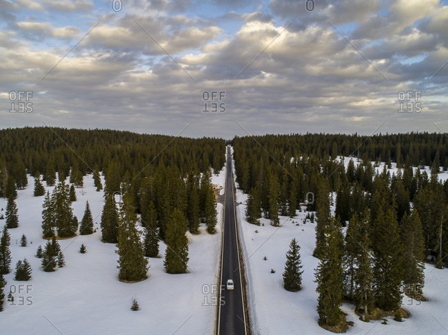 Aerial view of car driving on road through evergreen tree forest in winter, Le Chenit, Vaud Canton, Switzerland