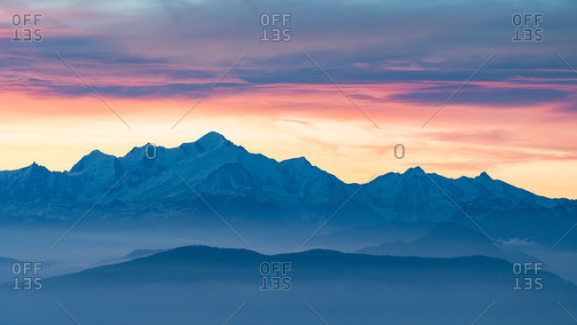 Majestic landscape with mountains of French Alps in winter at sunrise, Chamonix, Haute-Savoie, France