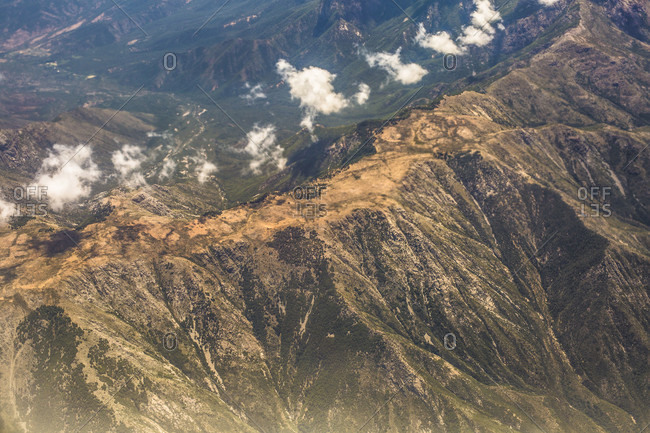 Majestic natural scenery with aerial view of Andes Mountains, Mendoza province, Argentina