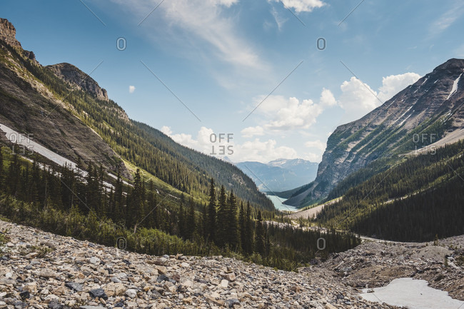 Majestic landscape with view of Lake Louise and mountains of Canadian Rockies, Plain of Six Glaciers, Banff National Park, Alberta, Canada