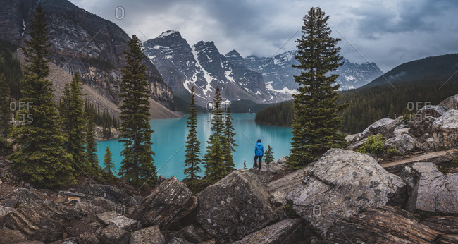 Scenic landscape with Moraine Lake and mountains of Canadian Rockies, Banff National Park, Alberta, Canada