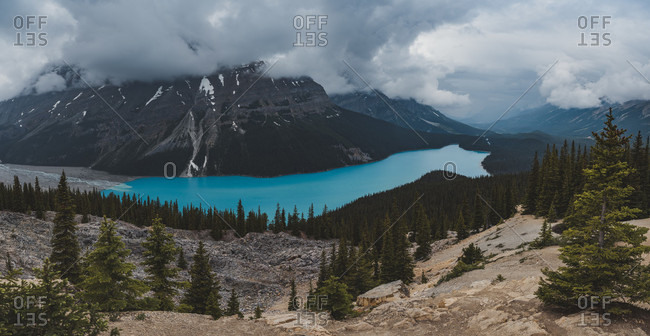 Scenic landscape with Peyto Lake and mountains of Canadian Rockies, Banff National Park, Alberta, Canada