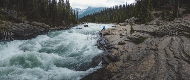Beautiful natural landscape with Mistaya River, Banff National Park, Alberta, Canada