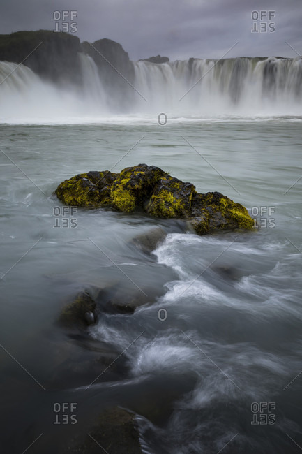 Godafoss waterfall in the Myvatn area of Iceland is popular with tourists and easily accessible