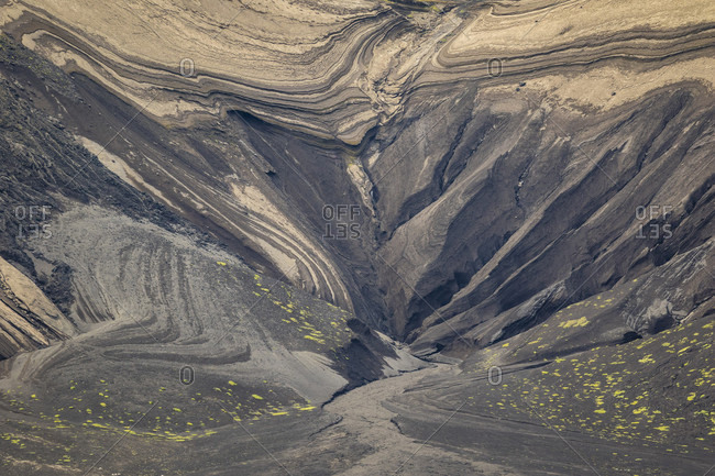 A close up view of the geological abstract patterns on the volcanic island of Surtsey off the coast of Iceland