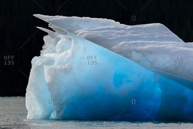 Beautiful nature photograph of iceberg in Le Conte Bay, Alaska, USA
