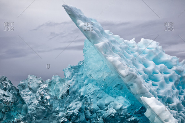 Beautiful nature photograph with close-up of iceberg in Le Conte Bay, Alaska, USA