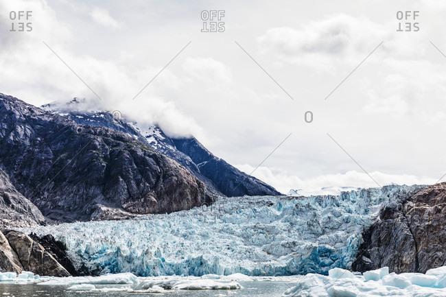 Scenic landscape with view of South Sawyer Glacier, Tracy Arm, Alaska, USA