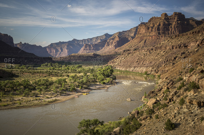 Scenic landscape with Green River and mountains, Utah, USA
