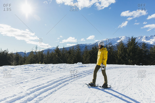 Full length shot of woman snowshoeing in natural setting in winter, Whistler, British Columbia, Canada