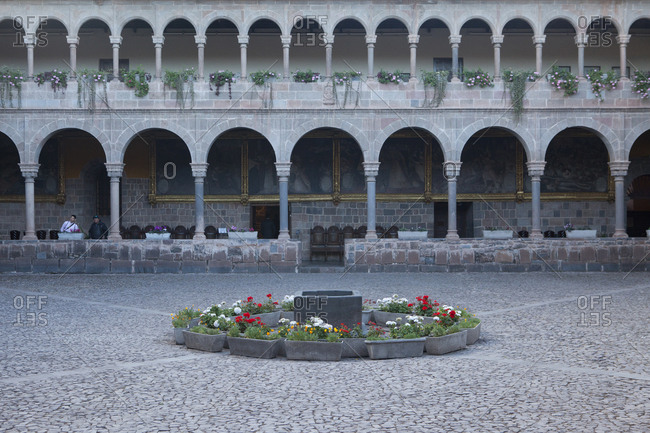 Peru - July 13, 2014: Colonial Courtyard in Peru