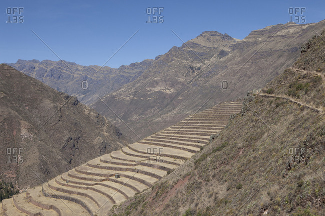 Man-Made Terraces for Farming in Andes Mountain, Peru