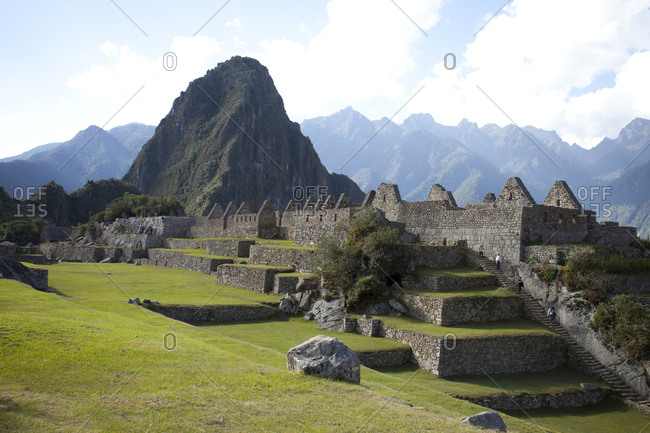 Lush Lawns Spread out from Machu Piccu Ruins, Peru