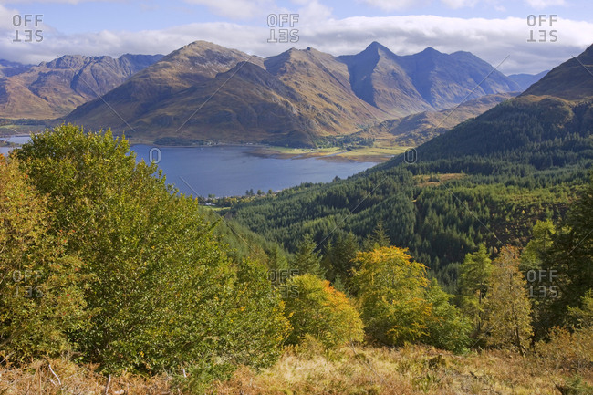 Kintail Hills and Loch Duich from Mam Ratagan Scottish Highlands