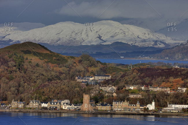 February 13, 2018: Oban Esplanade and Dunollie from Gallanach Oban