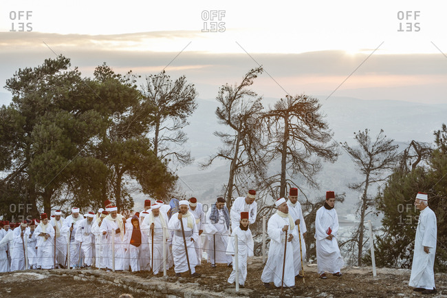 Nablus, Israel - October 4, 2017: Samaritans pilgrimage to Mount Gerizim during Sukkot holiday